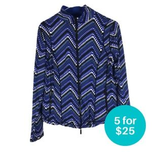 5/$25 Blyse Zip-Up Athletic Sweater Blue Chevron S
